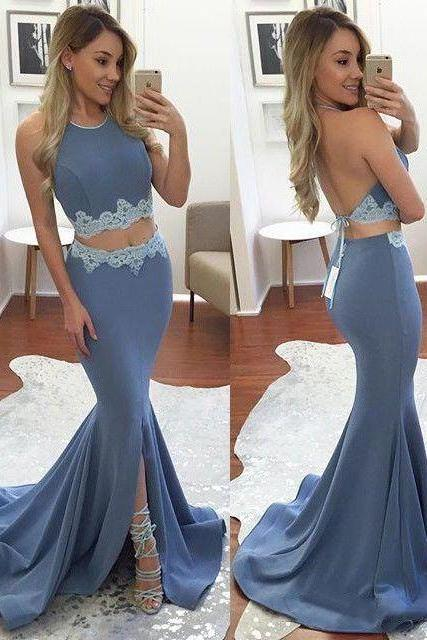 Prom Dresses,Lace Prom Dress,New Prom Gown,2 pieces Prom Dresses,Lace Evening Gowns,2 piece Evening Gown,lace blue Prom Gowns