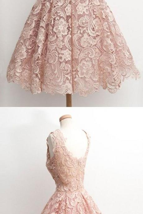 elegant homecoming dress,junoesque homecoming dress,knee-length homecoming dress,party dress,vintage party dress,modest party dress,prom dress,short prom dress,pink lace prom dress