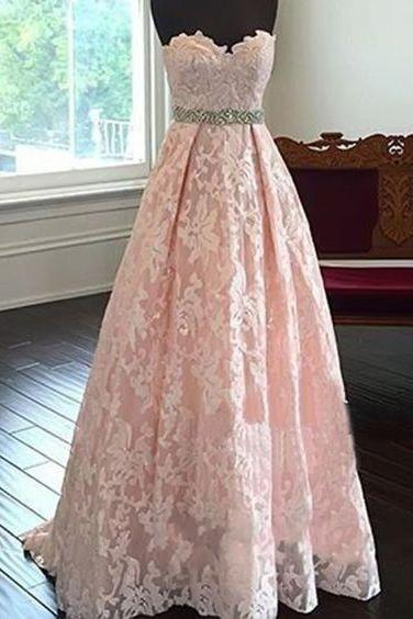 Pretty Sweetheart Neck Lace Light Pink Long Prom Dresses, Evening Dresses,Formal Dress, Lace Prom Dresses