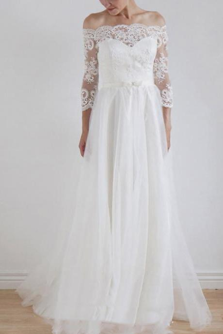 Off-the-Shoulder Lace A-line Wedding Dress with 3/4 Sleeves