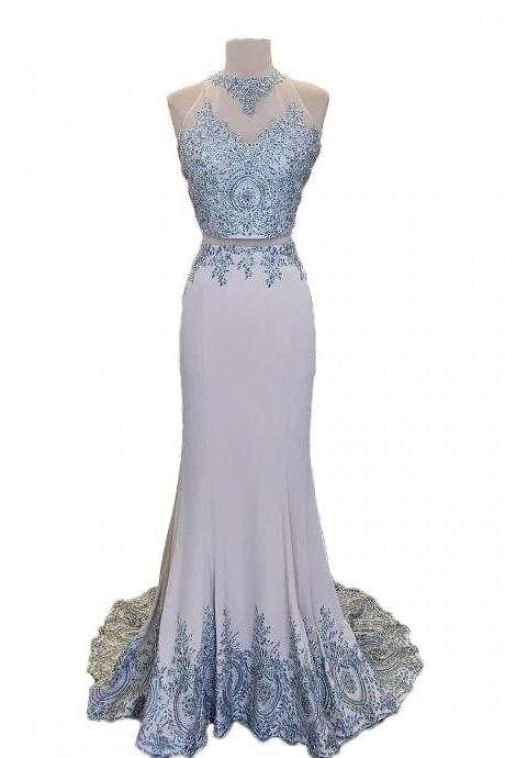 Lace Two Piece Mermaid Evening Dress, Sheer Back Long Prom Dresses