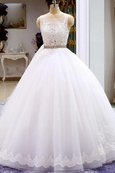 Bateau Sheer Lace Princess Ball Wedding Dress Featuring V-Back