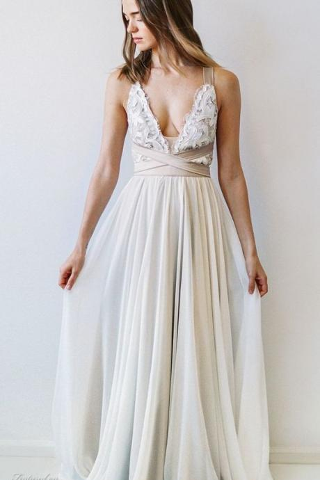 Boho A-line Scoop Neck Floor-length Chiffon Wedding Dress With Open Back