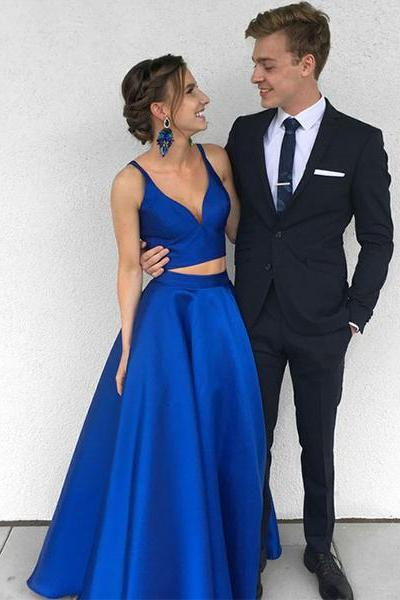 Two Piece Royal Blue Long Prom Dress, Evening Dress, Simple V Neck A-line Prom Dresses, Burgundy Prom Dresses, Prom Dress for Teens