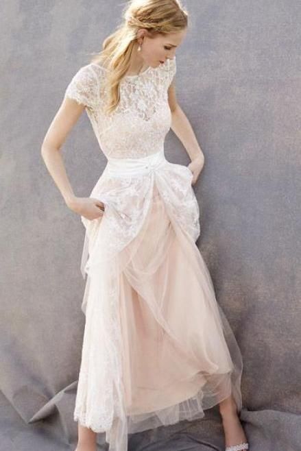 Blush Pink Wedding Gown Bridal Dress