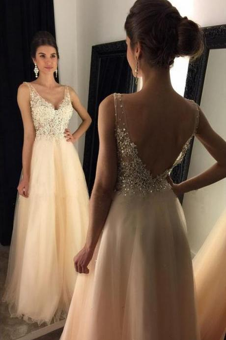 Modest Prom Dress,Backless Prom Dress,2018 Prom Dress,Party Dress,Women Dress,Charming Evening Dress,Beaded Prom Party Dress,Graduation Dress,Newest 2018 V-Neck Appliques Beaded Long A-line Beige Tulle Prom Dresses,