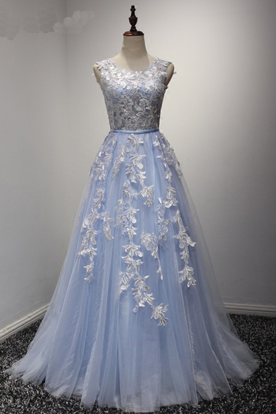 New Fashion Style Prom Dress,Sexy Prom Dress,Backless Prom Dress,Elegant Prom Dress,Baby Blue Tulle Prom Dress, Long Lace Appliques Prom Dress,Senior Prom Dress,Party Dress,