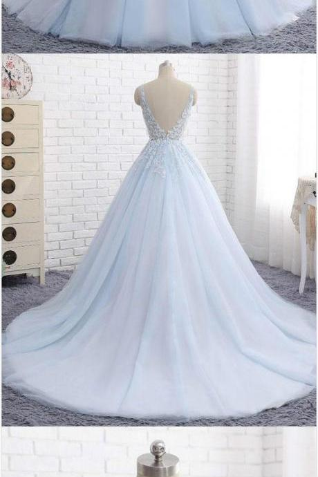 Elegant Ball Gown Prom Dress,V-Neck Prom Dresses,Sexy Prom Dress,Prom Dress,Formal Fress,Blue Tulle Long Prom/Evening Dress with Appliques